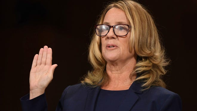 Christine Blasey Ford is sworn in to testify before the Senate Judiciary Committee on Capitol Hill in Washington on Sept. 27.
