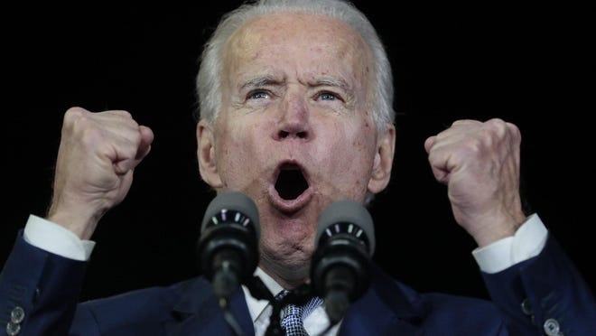 Democratic presidential hopeful Joe Biden reacts to Super Tuesday voting results at the Baldwin Hills Recreation Center in Los Angeles on Tuesday, March 3, 2020.