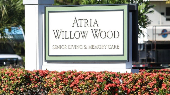The main sign outside of the Atria Willow Wood assisted living facility in Fort Lauderdale., site of a cluster of COVID-19 cases. Florida nursing home deaths from COVID-19 haved spiked dramatically: up to 22 at a single home.