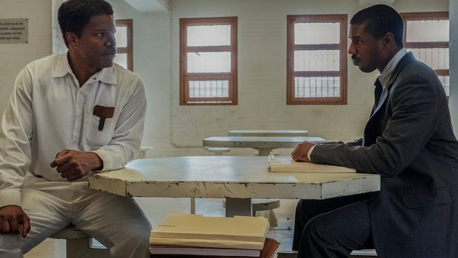 "Jamie Foxx, left, and Michael B. Jordan in ""Just Mercy."""