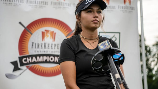 Lake Worth' s Alexa Pano, speaking at a press conference for the Symetra Tour's seventh annual FireKeepers Casino Hotel Championship last month in Battle Creek, Mich., will have to play better Tuesday to make the top 64 golfers who advance to match play.
