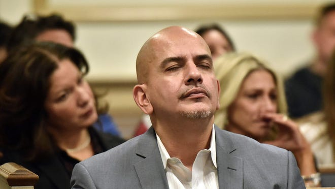 Joevanny Vargas, father of Miranda Vargas, who was killed in the 2018 Paramus bus crash reacts while Hudy Muldrow, the driver in that crash, pleads guilty in Morris County Courthouse on Dec. 23, 2019.