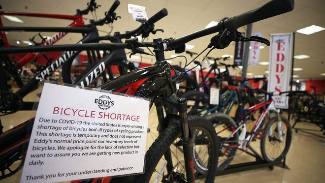 Eddy's Bike Shop in Stow is currently experiencing a shortage of affordable bicycles due to high demand amid the coronavirus pandemic Monday. Many of the bicycles on the showroom floor have price tags above $2,000.