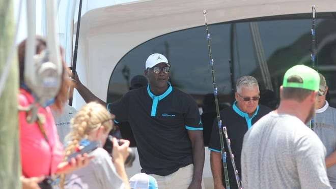Michael Jordan was aboard Tuesday as his boat, Catch 23, brought in a 442.3-pound marlin during the second day of the Big Rock Blue Marlin Tournament in Morehead City.