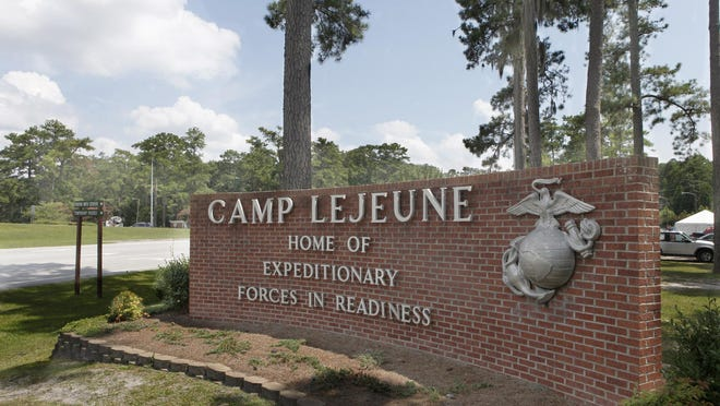 Sign near entrance to Marine Corps Base Camp Lejeune.