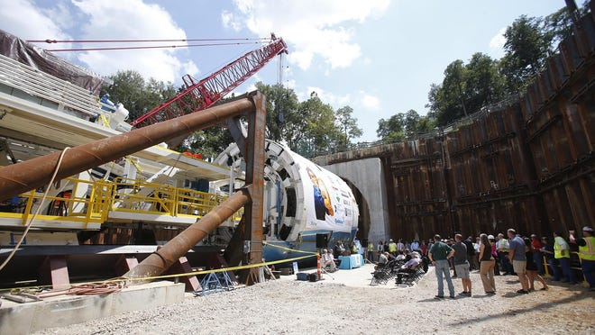 A ceremony is held Aug. 14, 2017, before Rosie, the tunnel boring machine, begins digging the Ohio Canal Interceptor Tunnel in Akron.