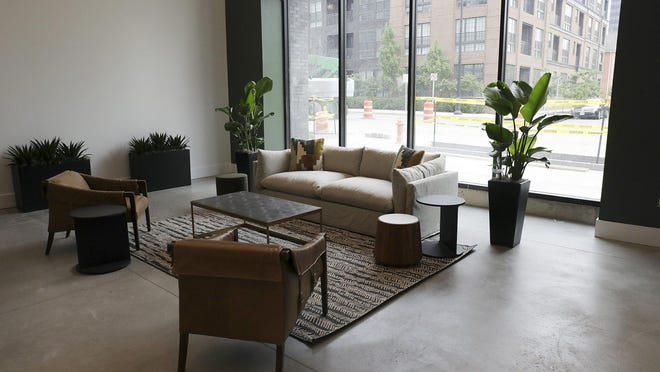 The front lobby of the newest Downtown luxury apartment complex, Industry Columbus, at 230 E. Long St.