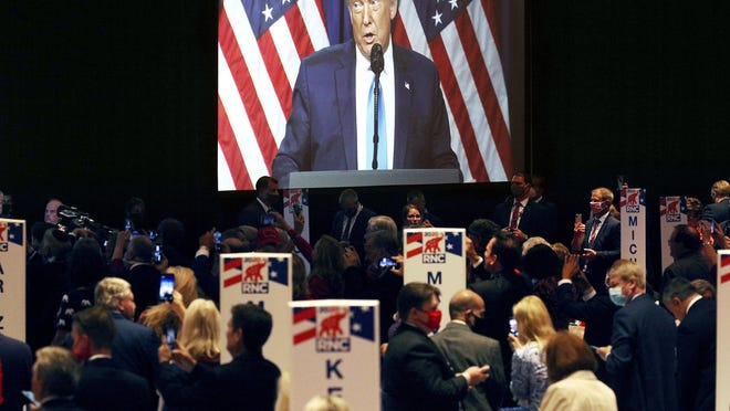President Donald Trump speaks during the first day of the Republican National Convention Monday, Aug. 24, 2020, in Charlotte, N.C.