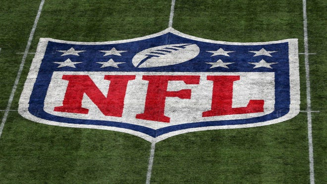 A detailed view of the NFL logo on the field during an October 2019 game