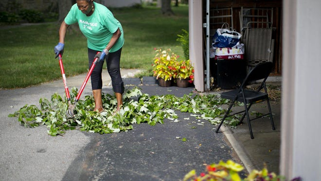 Joyce Eubanks, 66, of Reynoldsburg, has taken on the role of beautifier in her neighborhood, another thing she does to stay active and relieve stress, much of which stems from racism.