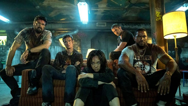 "The Amazon Prime series ""The Boys"" features, from left, Karl Urban, Jack Quaid, Karen Fukuhara, Tomer Capon and Laz Alonso."