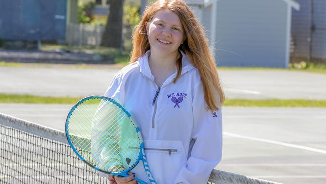 Meaghan Dolan, who recently graduated from Mt. Hope High School, has been a key member of the tennis team.