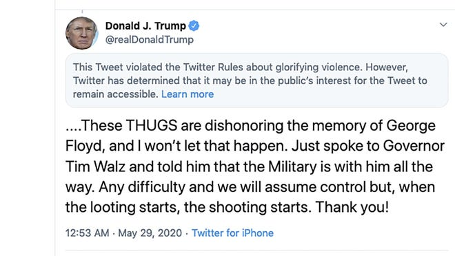 This image from the Twitter account of President Donald Trump shows a tweet he posted on Friday, after protesters in Minneapolis torched a police station, capping three days of violent protests over the death of George Floyd, who pleaded for air as a white police officer knelt on his neck.