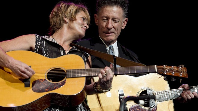 Shawn Colvin and Lyle Lovett, shown here at the Erwin Center's Fire Relief Concert for Central Texas in 2011, team up for a livestream event on Friday.
