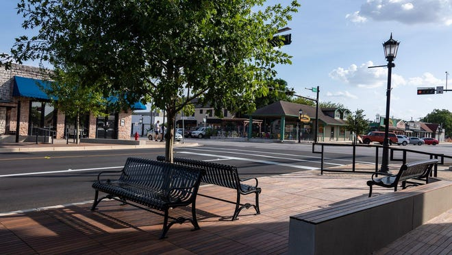 A newly opened parklet at the intersection of Main and Mays streets in downtown Round Rock. The parklets provide expanded walkable space for pedestrians, as well as gathering areas for downtown visitors.