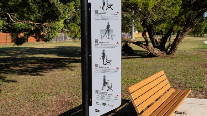 The city has installed signs in the Rock West greenbelt to guide people on how to use benches for their workout routines. The signs replace outdated fitness equipment removed as part of the trail renovation.