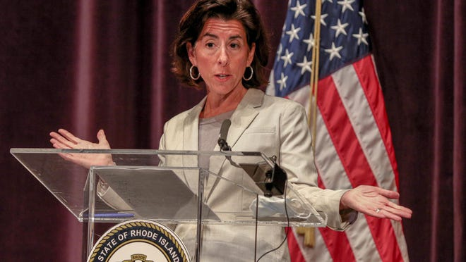 Gov. Gina Raimondo updates Rhode Island's progress in fending off the coronavirus pandemic at a news conference with the Department of Health on July 8.