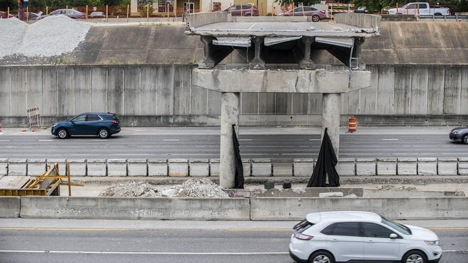 The Texas Department of Transportation construction workers demolish parts of the St. Johns Avenue bridge over I-35 on June 11, 2019. TxDOT presented a draft of its legislative appropriations request Thursday.