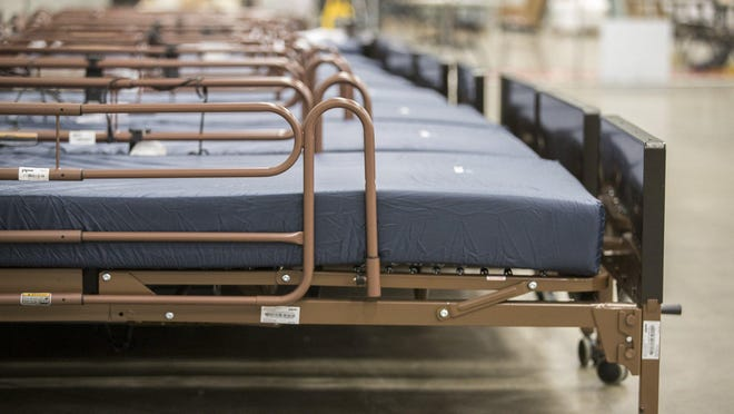 Extra hospital beds are ready to be used at the Austin Convention Center. The facility can take as many as 1,500 COVID-19 patients if needed.