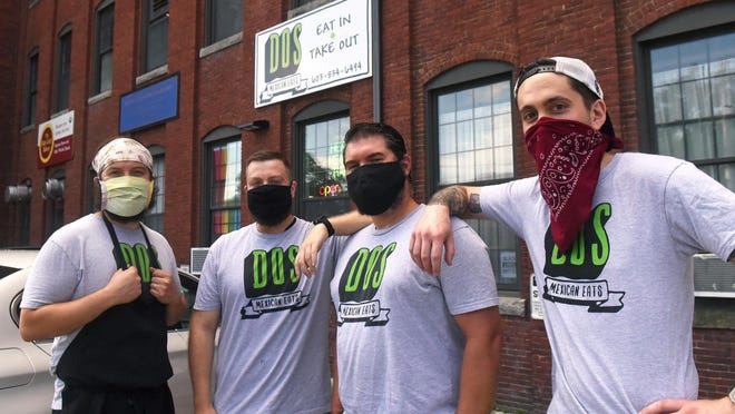 Dos Mexican Eats is a new business at 1 Washington St. in Dover. From left are co-owners Brett Wintersteen, Mitch Purington, Joel Harris and Steve Ordway.