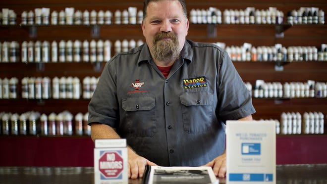 Vapor Station owner James Jarvis, shown in 2019, had to temporarily close his business in Gahanna because of the COVID-19 pandemic.