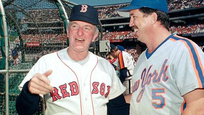 American League All-Star manager John McNamara, left, of the Red Sox, chats with National League counterpart Davey Johnson of the Mets between workouts in preparation for the 1987 All-Star Game in Oakland. McNamara, who managed several Major League Baseball teams during his career, died at age 88 Tuesday in Tennessee.