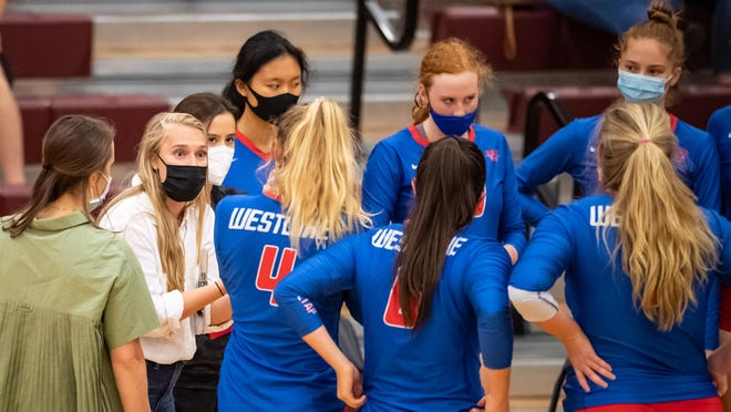 Westlake coach Amanda Yeager gives the Chaps some instruction during a four-set win over Round Rock Tuesday at Round Rock High School. Yeager went 3-0 while filling in for head coach Marci Laracuente, who returned to the program the day after the win over Round Rock after self-quarantining following contact tracing with someone who tested positive for the coronavirus.