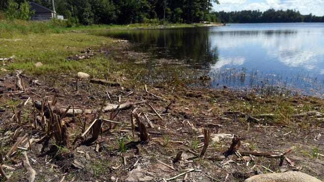 Water levels were extremely low on the Dover side of Willand Pond due to the lack of rain this summer. The drought is forecasted to persist through the fall.