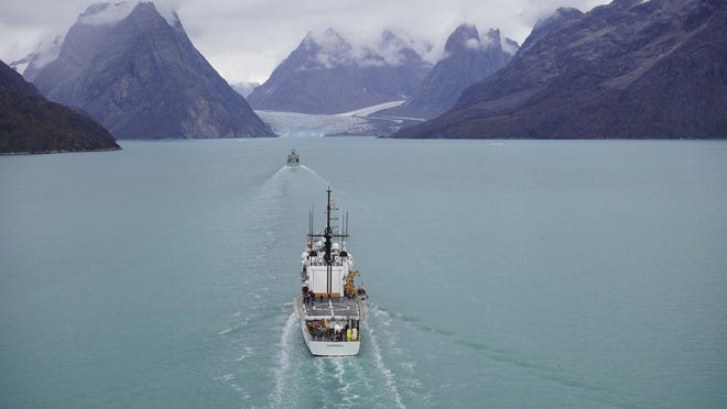 U.S. Coast Guard Cutter Campbell conducts joint training with Royal Danish Navy along the west coast of Greenland.