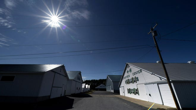 "Livestock building remain closed and vacant just days ahead of the scheduled opening at the Fryeburg Fair, Thursday, Oct. 1, 2020, in Fryeburg, Maine. The state's largest agricultural fair was forced to cancel this year and is holding a ""virtual fair"" starting Sunday."