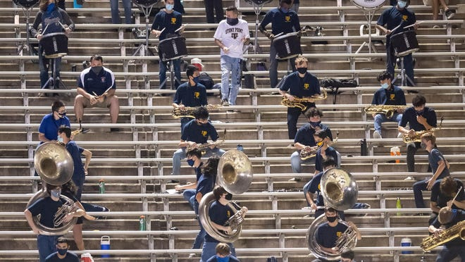 Stony Point's band performs while social distancing at last week's game against Bowie at Reeves Athletic Complex. Stony Ppint canceled its next two games because of coronavirus concerns at the Round Rock school district campus.