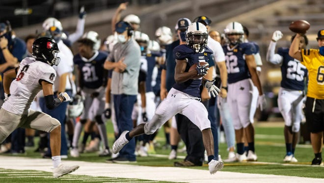 Stony Point's Jaden Leonard, running after a reception against Bowie on Thursday, earned American-Statesman player of the week honors for his all-around performance in the Tigers' win over the Bulldogs. He scored three touchdowns in the first 16 minutes.