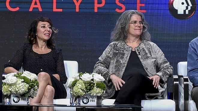 "FILE - Host Janna Levin left, and Andrea Ghez in the ""Black Hole Apocalypse"" panel during the PBS Television Critics Association Summer Press Tour at the Beverly Hilton on Monday, July 31, 2017, in Beverly Hills, Calif. Ghez is one of three scientists awarded the Nobel Prize for Physics for discoveries related black holes."