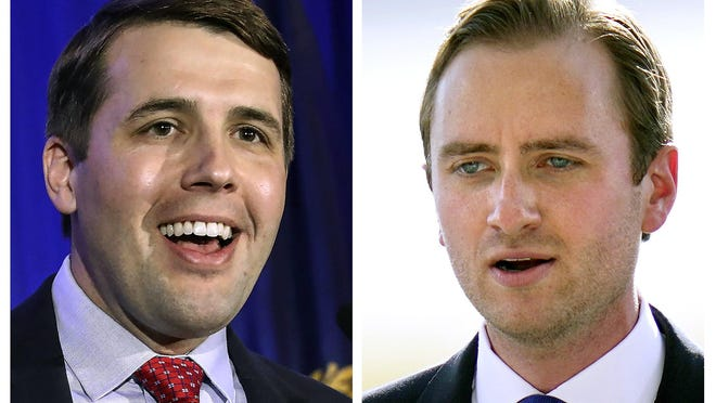 U.S. Rep Chris Pappas, D-NH, left, and Republican challenger Matt Mower, right, are candidates in New Hampshire's 1st Congressional District in Nov. 3, 2020, general election.