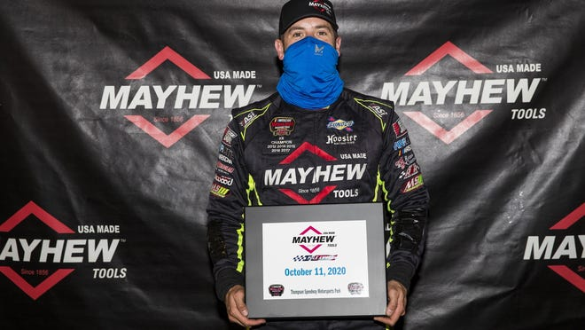 Doug Coby, driver of the #10 Mayhew Tools Chevrolet, wins the pole award in qualifying before the Sunoco World Series 150 for the NASCAR Whelen Modified Tour at Thompson Speedway Motorsports Park in Thompson, Connecticut on October 10, 2020.