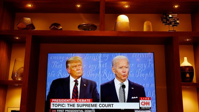 President Donald Trump and Democratic presidential nominee Joe Biden participate in the first presidential debate at the Health Education Campus of Case Western Reserve University on Sept. 29 in Cleveland.