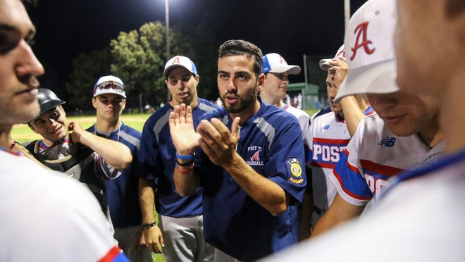 Ashland Post 77 manager Jake Obid congratulates his team after winning the the Zone 5 Legion baseball championship by beating Lowell at Mahan Field in Natick last summer. Ashland will be playing in Zone 6's independent baseball league this summer with Natick.
