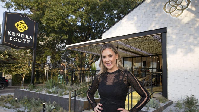 "Kendra Scott poses for a portrait outside her flagship store on South Congress Avenue in 2018. The Austin businesswoman is a recurring shark on this season of ABC's ""Shark Tank."""