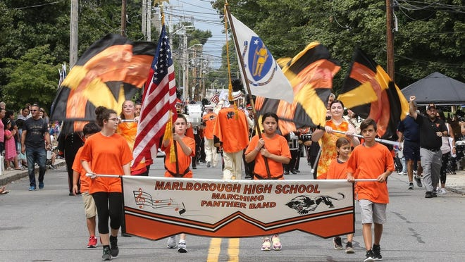 In this 2019 file photo, the Marlborough High Marching Band performs during the 68th annual Labor Day Parade along Broad Street in Marlborough
