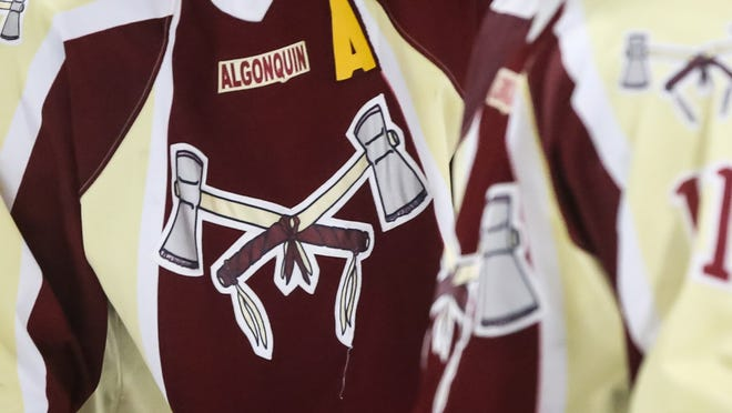The Algonquin Tomahawks logo on a hockey jersey at the NorthStar Ice Arena in Westborough in 2017. More than 2,000 people have signed a petition to have the mascot changed.