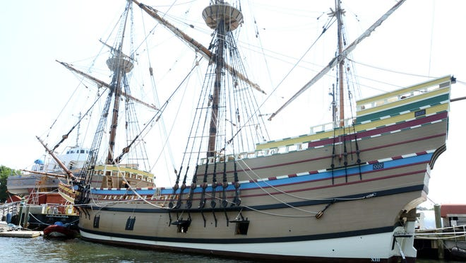 The 1959 Mayflower II is seen from the Mystic River Thursday during a tourism tour at the Mystic Seaport Museum. See videos and more photos at NorwichBulletin.com