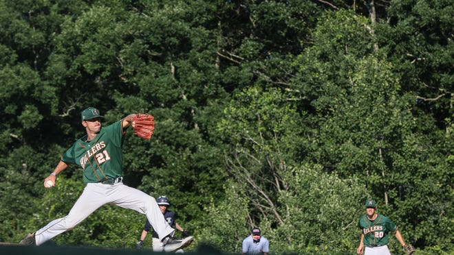 Hopkinton's Jack Breslin delivers a pitch during the Senior Babe Ruth game against Medway at Medway High School in Medway on July 6.