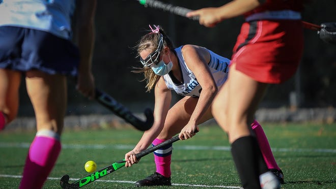 Franklin's Amanda Lewandowski traps the ball for a shot during a field hockey game against Milford at Chilson Park in Franklin last week. Lewandowski scored a goal and recorded an assist in a win over King Philip on Tuesday.