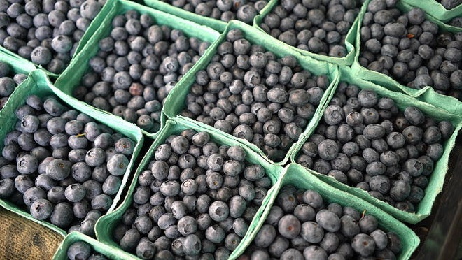 Fresh blueberries from Freitas Farm are shown in this Patriot Ledger file photo. Freitas Farm will participate in Quincy's drive-through Farmers Market, starting June 26.