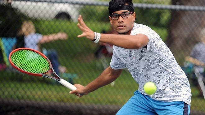 Adithya Ashokkumar hits at Stoddard Park in Holliston on Thursday afternoon. He will attend the Royal College of Surgeons in Ireland to play tennis and study medicine.