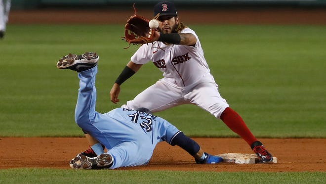 Toronto Blue Jays' Lourdes Gurriel Jr. gets back to second base safely on a pickoff attempt as Boston Red Sox's Jonathan Arauz waits for the throw during the second inning of the second game of a baseball doubleheader Friday, Sept. 4, 2020, at Fenway Park in Boston.