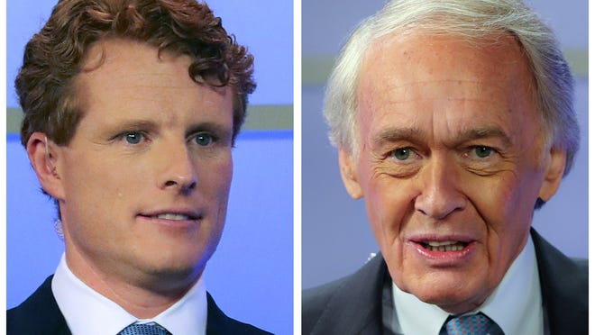 In this pair of June 1, 2020, file photos, Rep. Joe Kennedy III, left, and Sen. Edward Markey, D-Mass., right, wait for the start of a debate in Springfield, Mass. Matthew J. Lee/The Boston Globe via AP, Pool, File
