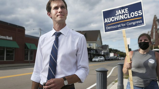 Jake Auchincloss, a Democratic candidate for the 4th Congressional District seat, visits supporters in Needham, Sept. 1, 2020.