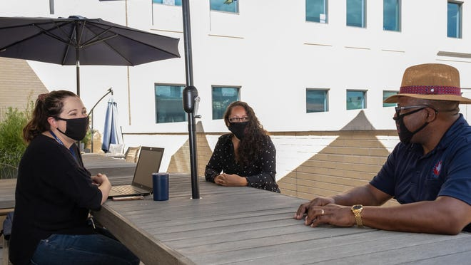 The Texas Association of Counties is the No. 1-ranked midsized employer in the American-Statesman's 2020 Top Workplaces of Greater Austin project. Employees Rachel Sanchez, Courtney Govea and Jerome Hill meet on the fourth-floor patio at the agency's headquarters in Austin.