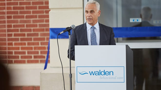 Stuart Koman, president and CEO of Walden Behavioral Care, speaks at the opening of the new facility in Dedham.